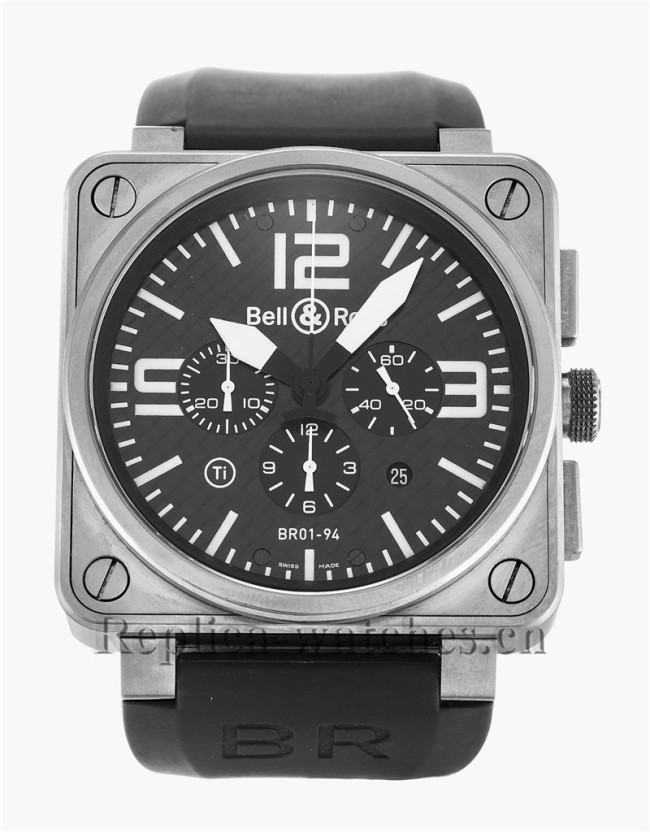 Bell and Ross Black Leather Strap BR01-94 Chronograph Titanium