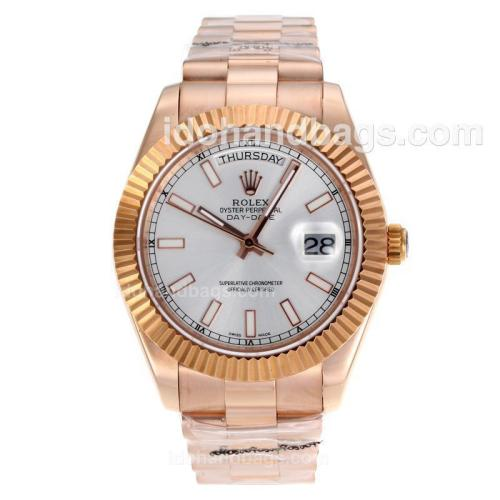 Rolex Day-Date II Swiss ETA 2836 Movement Full Rose Gold Stick Markers with Silver Dial 60268