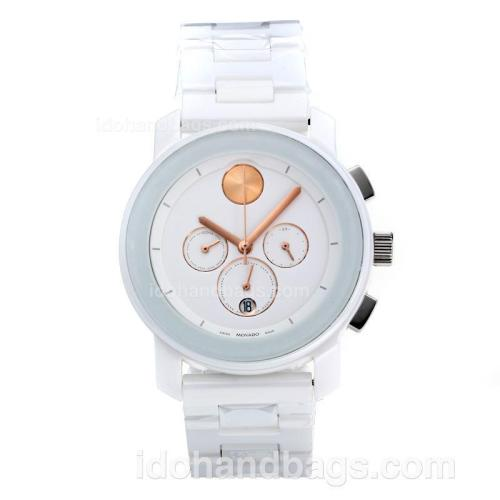 Movado Working Chronograph Full Ceramic with White Dial-Champagne Needle 186342