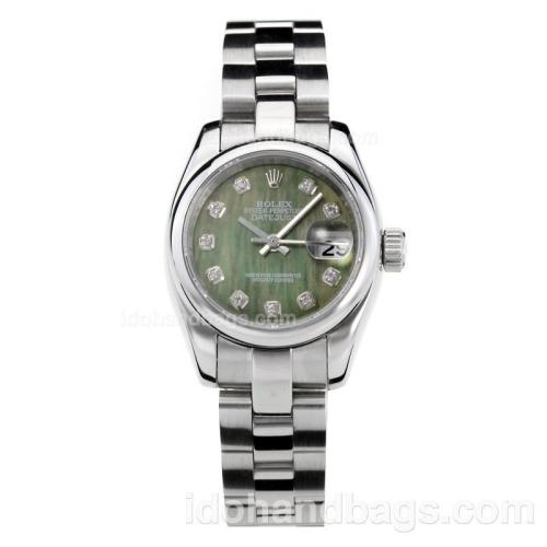 Rolex Datejust Automatic Diamond Markers With Dark Green MOP Dial S/S-Same Chassis as ETA Version 176380