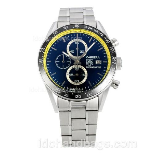 Tag Heuer Carrera Working Chronograph Ceramic Bezel with Black Dial S/S-Yellow Innner Bezel 149062