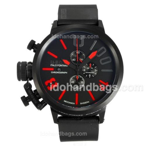 U-Boat Italo Fontana Working Chronograph Full Black with Black Dial-Red Markers 163182