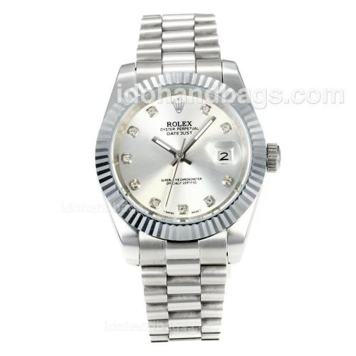Rolex DateJust II Automatic with Silver Dial S/S-Diamond Markers 167726
