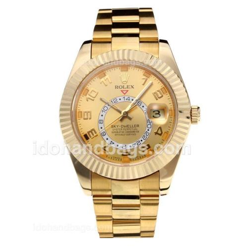 Rolex Sky Dweller Swiss ETA 2836 Movement Full Yellow Gold with Champagne Dial-Sapphire Glass 195254
