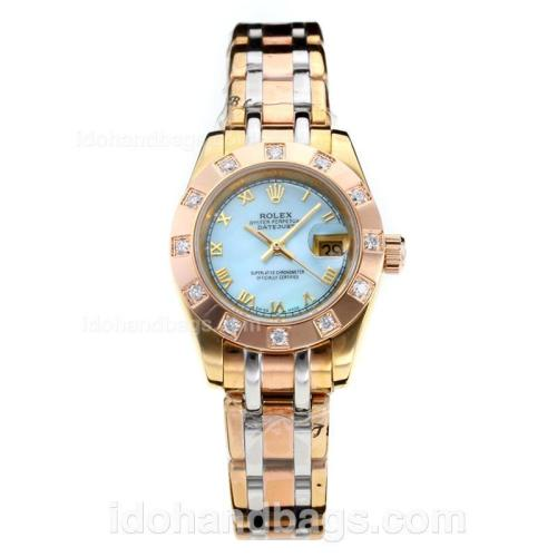 Rolex Masterpiece Automatic Three Tone Diamond Bzel Roman Markers with Blue MOP Dial-Lady Size 182794