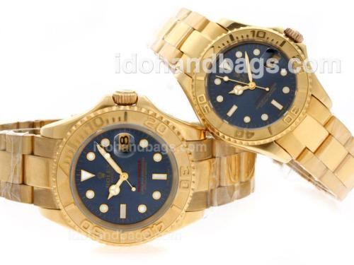 Rolex Yacht-Master Swiss ETA 2836 Movement Full Gold with Blue Dial 40552