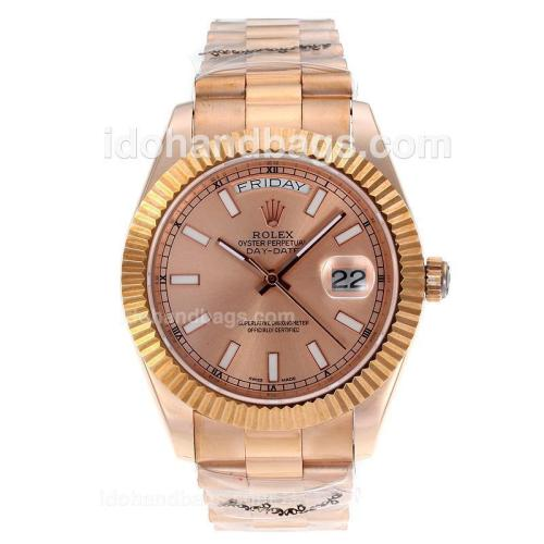 Rolex Day-Date II Swiss ETA 2836 Movement Full Rose Gold Stick Markers with Champagne Dial 60270