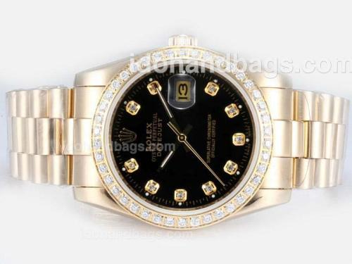 Rolex Datejust Automatic Full Gold with Diamond Bezel-Black Dial 17487