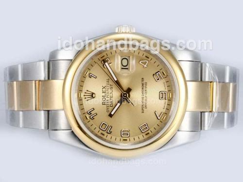 Rolex Datejust Automatic Two Tone with Golden Dial-Number Marking 15187