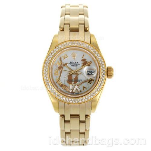 Rolex Masterpiece Swiss ETA 2671 Movement Full Gold Diamond Bezel Roman Markers with MOP Dial-Flowers Illustration 116240