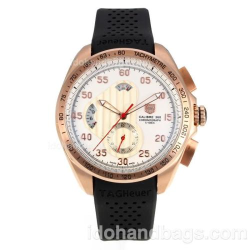 Tag Heuer Carrera Calibre 360 Working Chronograph Rose Gold Case with White Dial-Black Rubber Strap 174574