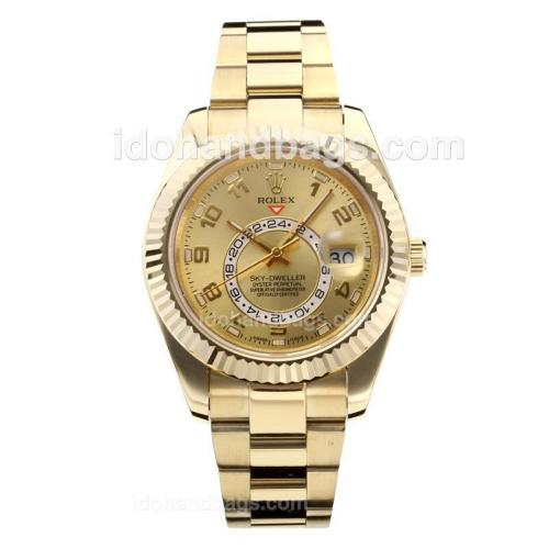 Rolex Sky Dweller Automatic Full Yellow Gold Case with Golden Dial-Sapphire Glass 182540