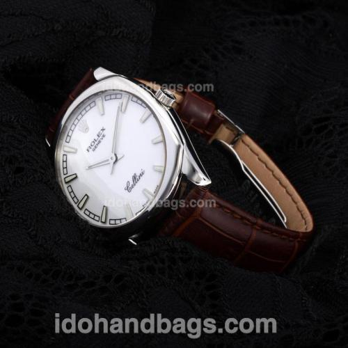 Rolex Cellini Luminous Swiss ETA Movement with White Dial-Leather Strap-Sapphire Glass(Gift Box is Included) 194534
