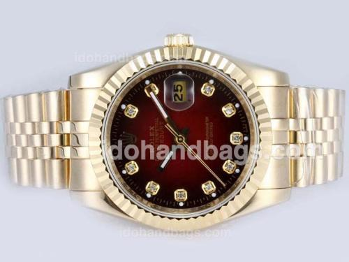 Rolex Datejust Automatic Full Gold Diamond Markings with Red Dial 15177