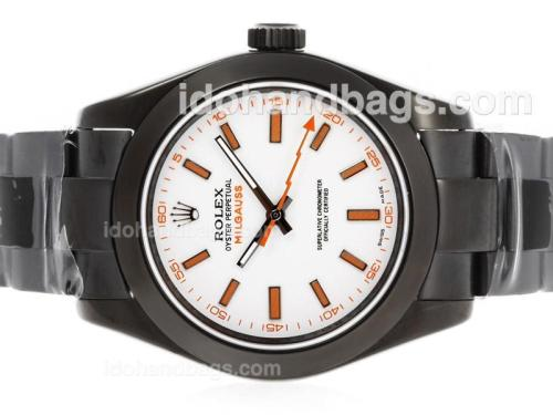 Rolex Milgauss Swiss ETA 3135 Movement Full PVD with White Dial-Orange Markers 40747