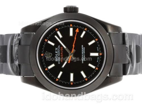 Rolex Milgauss Swiss ETA 3135 Movement Full PVD with White Markers 40745