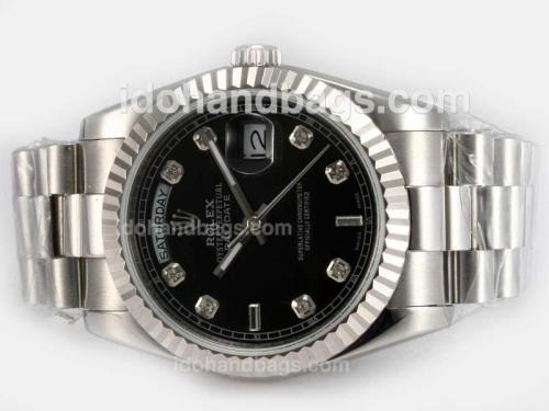 Rolex Day-Date Automatic Diamond Marking with Black Dial 18294