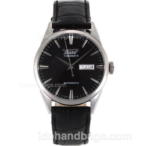 Tissot ViboDate Automatic with Black Dial-Leather Strap 110826
