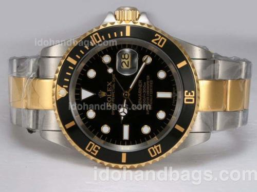 Rolex Submariner Automatic Two Tone with Black Dial and Bezel 12134