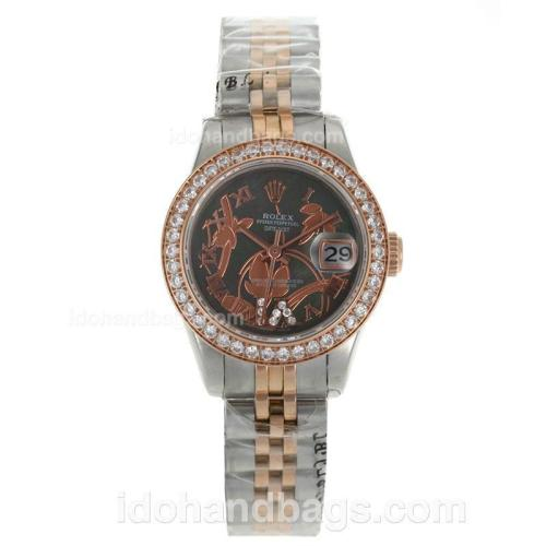 Rolex Datejust Automatic Two Tone Diamond Bezel Roman Markers with MOP Dial-Flowers Illustration 116268