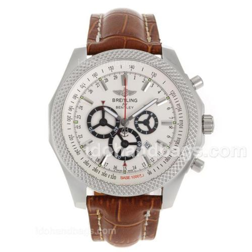 Breitling for Bentley Working Chronograph with White Dial-Leather Strap 118134