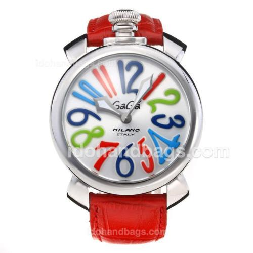 GaGa Milano with Silver Dial-Red Leather Strap 203820