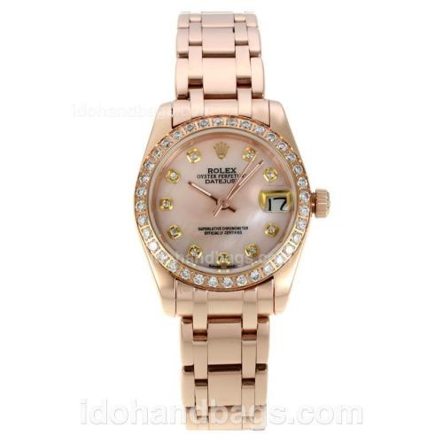 Rolex Masterpiece Automatic Full Rose Gold with Pink MOP Dial-Diamond Bezel and Markers 127524