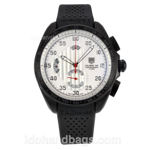 Tag Heuer Carrera Calibre 360 Working Chronograph Full PVD with White Dial-Black Rubber Strap 174572