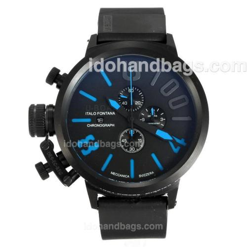 U-Boat Italo Fontana Working Chronograph Full Black with Black Dial-Blue Markers 163186