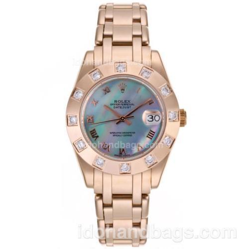 Rolex Masterpiece Swiss ETA 2836 Movement Full Rose Gold Roman Marking with Blue MOP Dial-Mid Size 87378