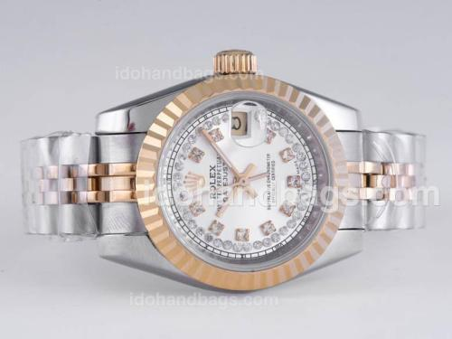 Rolex Datejust Automatic Two Tone Diamond Marking with Silver Dial 25949