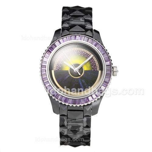 Christian Dior VIII Full Ceramic Diamond Bezel with Purple Dial 187656