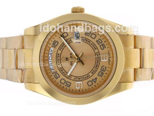 Rolex Day-Date II Automatic Full Gold Number Markers with Golden Dial 45288