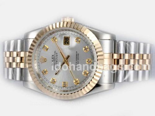 Rolex Datejust Automatic Two Tone Diamond Marking with Silver Dial 18139