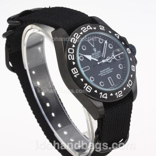 Rolex Explorer Automatic PVD Case with Black Dial-Cloth Strap-White Markers 203582