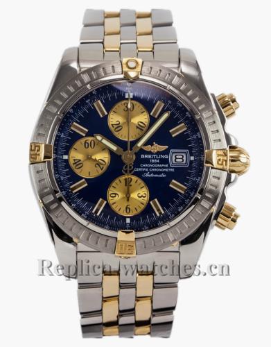 Breitling Chronomat Evolution B13356 Blue Two-Tone Yellow Gold Stainless Steel Strap