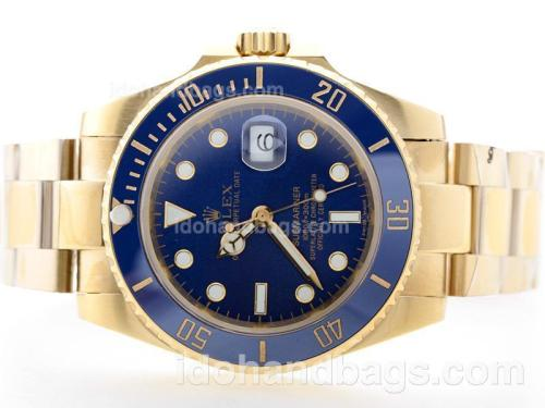 Rolex Submariner Automatic Full Gold with Blue Dial-Blue Ceramic Bezel 35048