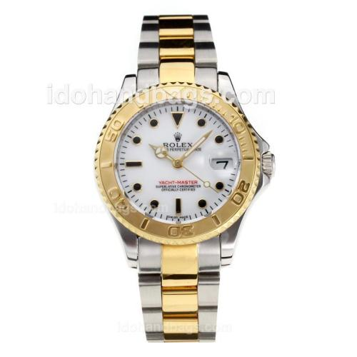 Rolex Yachtmaster Swiss ETA 3135 Movement Two Tone with Super Luminous White Dial S/S-Sapphire Glass 187040