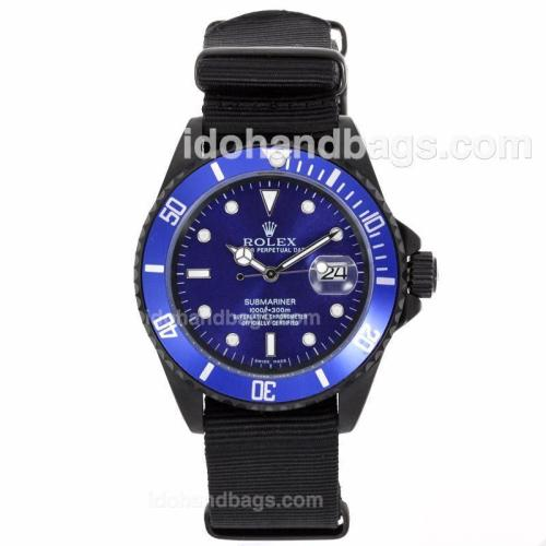 Rolex Submariner Automatic PVD Case with Blue Dial and Bezel-Nylon Strap 55869