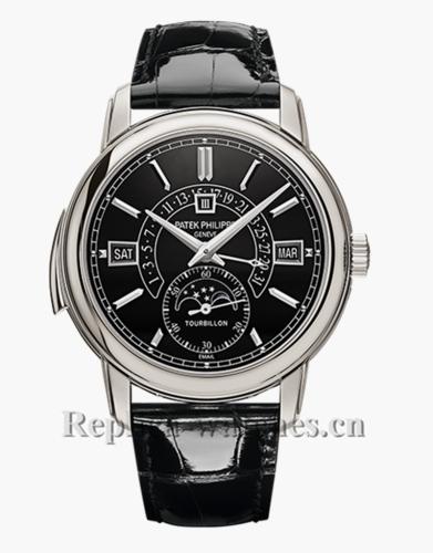 Patek Philippe Grande Complication 5316P Black Dial Leather Strap Copy Watch