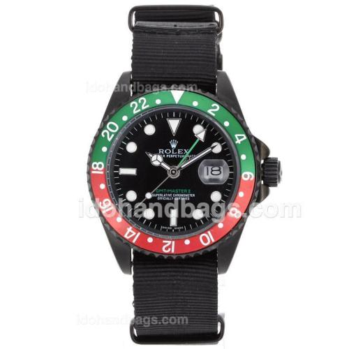 Rolex GMT-Master II Automatic PVD Case Red/Green Bezel with Nylon Strap 62011