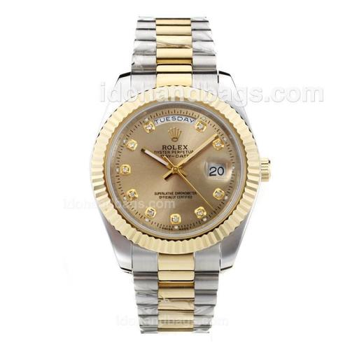 Rolex Day-Date II Automatic Two Tone Diamond Marking with Golden Dial-41mm New Version 25395
