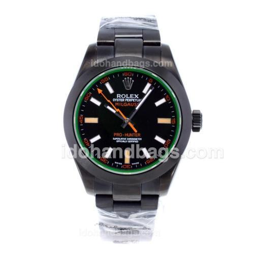 Rolex Milgauss Pro-Hunter Swiss ETA 3131 Movement Full PVD with Tinted Green Sapphire 57798