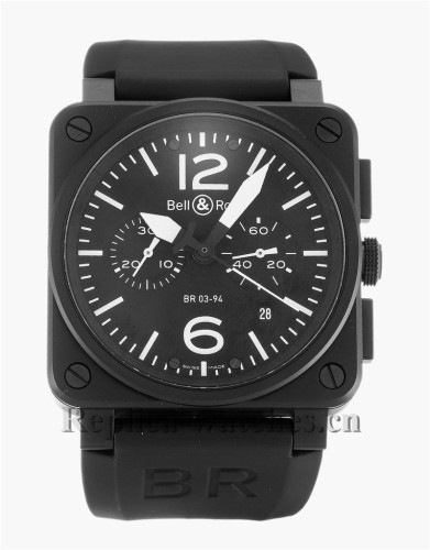 Bell and Ross Black Rubber Strap BR03-94 Chronograph Carbon
