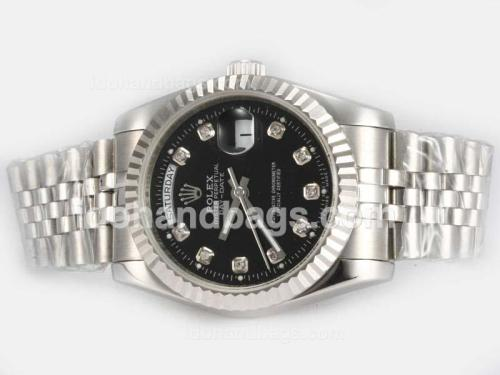 Rolex Day-Date Automatic Diamond Marking with Black Dial 18820