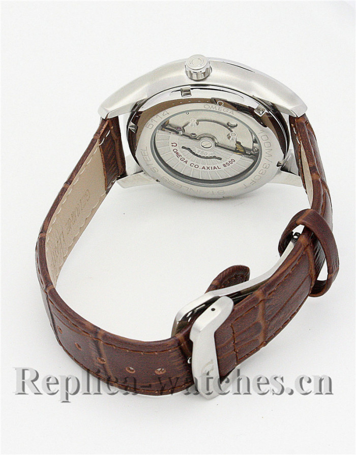 Omega De Ville Hour Vision Brown Leather Strap White Dial