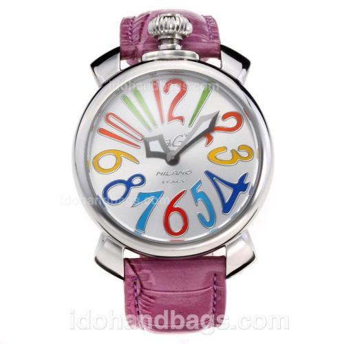 GaGa Milano with Silver Dial-Purple Leather Strap 203828