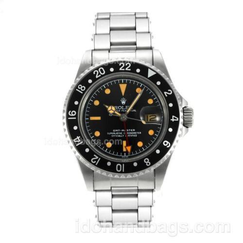 Rolex GMT-Master Swiss ETA 2836 Movement Vintage Edition with Black Dial Orange Markers-Rivet Strap 126822