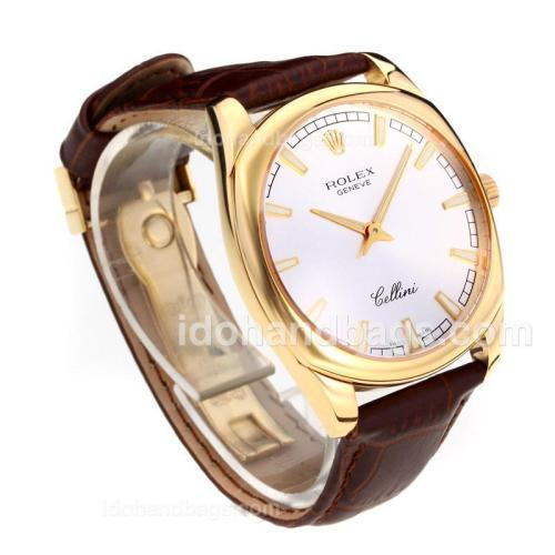 Rolex Cellini Luminous Swiss ETA Movement Yellow Gold Case with Silver Dial-Leather Strap-Sapphire Glass 194518