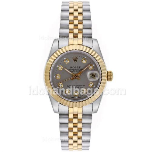 Rolex Datejust Automatic Two Tone Diamond Markers with Gray Dial-Mid Size 64212